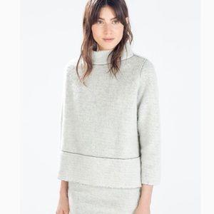 Zara Knit High Neck Sweater Fleece Mohair Blend M